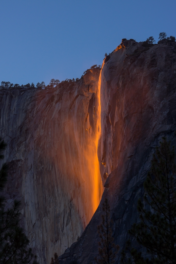 Fire waterfalls at Yosemite national park