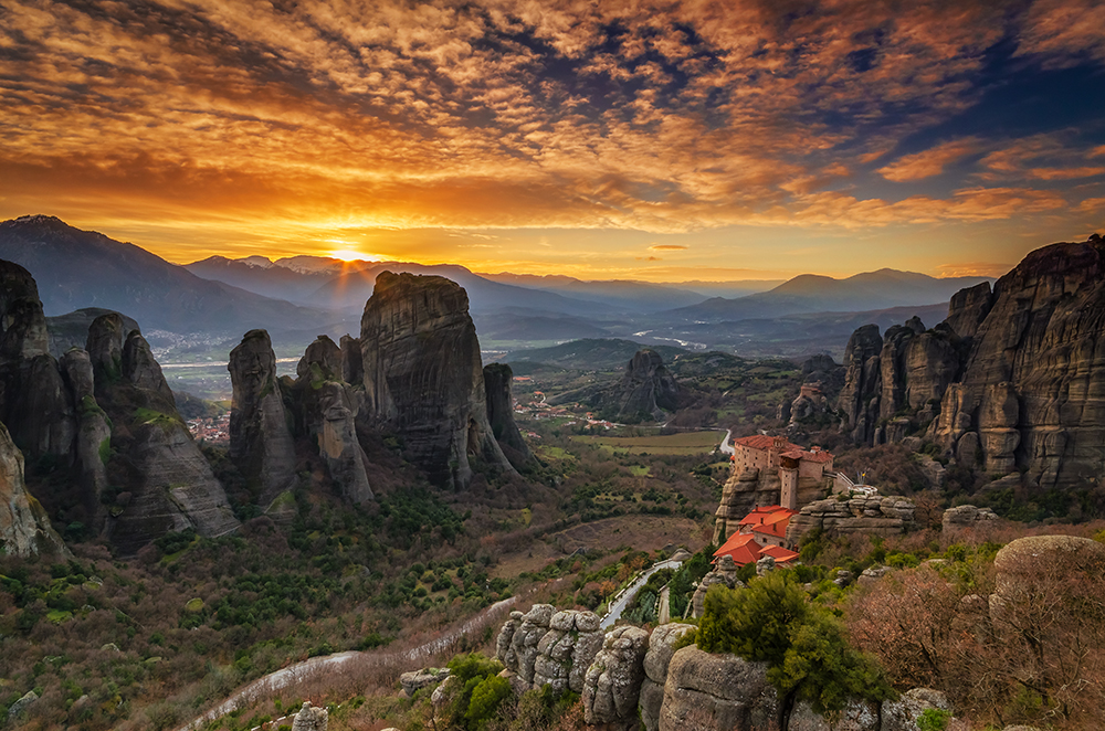 Meteora at sunset