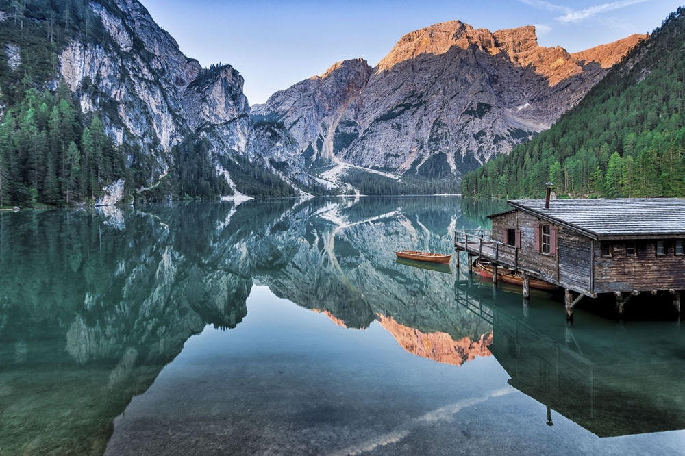 Sunrise at Pragser Wildsee