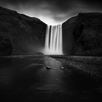 Darkness at Skogafoss