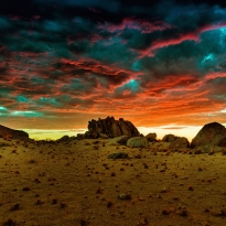 fantastic scenery after sunset in Namibia