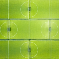 An abstract aerial view of soccer fields