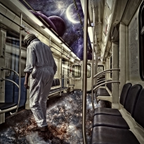 Subway train into space